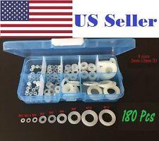 180Pcs Nylon Flat Washer Assortment Kit, m2 m2.5 m3 m4 m6,m8,m10,m12
