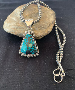 Mens-Navajo-Pearls-Sterling-Silver-Blue-SpiderWeb-Turquoise-Necklace-Pendant-856