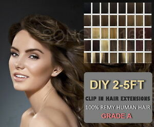 2FT-3FT-4FT-5FT-DIY-Weft-Clip-in-100-Remy-Human-Hair-Extensions