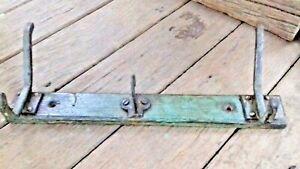 Vintage-Iron-amp-Wood-Hooks-Hanger-gt-Antique-Old-Fireplace-Kitchen-Coat-Rack