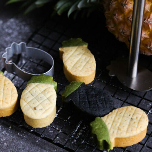 10pcs Pineapple Shape Cake Pie Biscuit Cutter Bread Mold /& 1 Pressing Mould