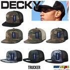 DECKY Camouflage FLAT Bill Trucker Hat 6 Panel Mesh Snapback GREEN BLACK Camo A