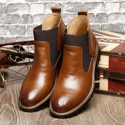 Men/'s Spring Ankle Martin Dress Boots Slip On Almond Round Toe Pig Leather Shoes