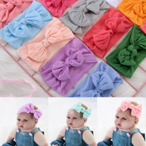 Newborn-Kids-Bow-Knot-Nylon-Elastic-Headband-Girl-Hair-Band-Hair-Accessories