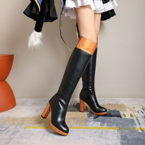 Details about  /Womens Mixed Colors Round Toe Knee High Cosplay Boots Block Heels Lolita Shoes
