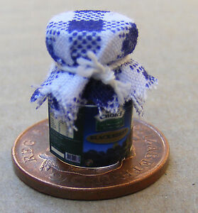 1:12 Scale Jar Of Blackberry Jam With A Blue Check Cloth Top Dolls House