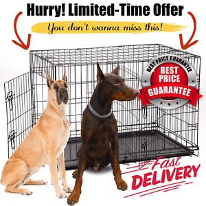 Extra Large Dog Kennel Crate Folding Pet Cage Metal 2