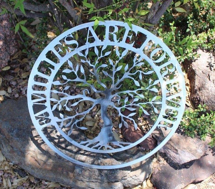 Familien Are Forever Olive Baum Metall Wandkunst Silber Silber Silber Polierter Stahl 40.6cm   Maßstab ist der Grundstein, Qualität ist Säulenbalken, Preis ist Leiter  c1519b