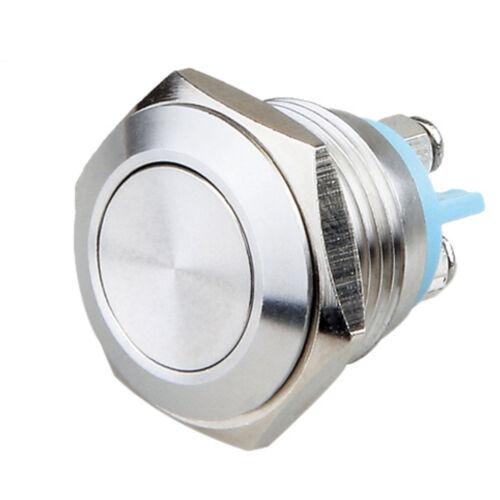 5 stk 16mm KFZ Schalter Momentary Edelstahl Drucktaster Taster Druckschalter