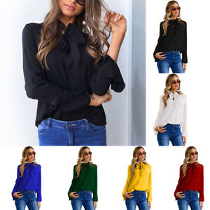 Women-Pussy-bow-Chiffon-Blouse-Office-OL-Long-Sleeve-Casual-Blouse-Tops-S-XL