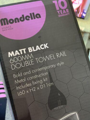 Mondella Viva was Black Vogue Matt Black 600mm Double Towell  Rail Bnib