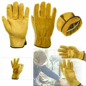 Gloves 2 Pairs Heavy Duty Gardening Gloves Men Women Thorn Proof Leather Work Yellow UK