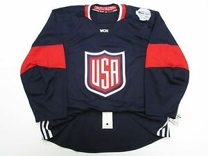 USA AUTHENTIC NAVY 2016 WORLD CUP OF HOCKEY TEAM ISSUED ADIDAS JERSEY SIZE 52
