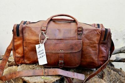 Real Brown Leather Duffle Bag Sports Gym Bag weekend Travel AirCabin Luggage Bag