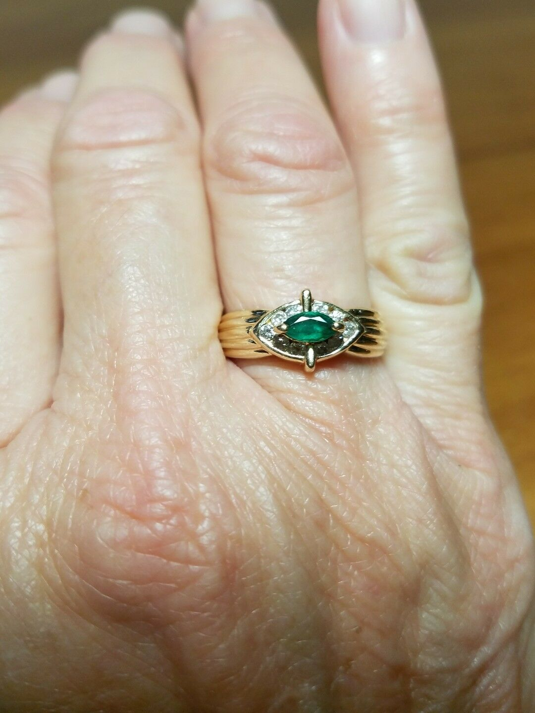 14k Yellow gold Emerald Diamond Ring Signed color Cast, Size 7