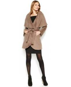 T-Tahari-Marla-Wrap-Coat-Portrait-Collar-Belted-Lined-Mink-Taupe-Size-L480
