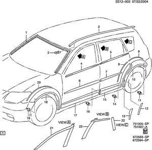 88973160 Pontiac Vibe LH SEALING STRIP Front Door Window ...