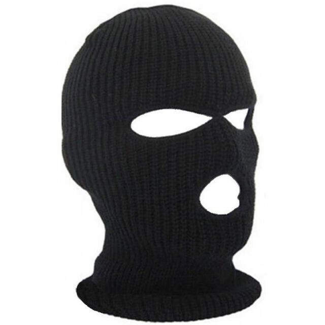 8acb2aeb2104 3 Hole Face Mask Winter Beanie Ski Snowboard Hat Cap Wear Balaclava Black  Warm