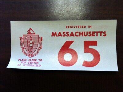 1965 Original Registration Windshield Sticker for MASSACHUSETTS Authentic