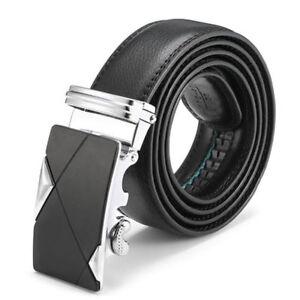 Luxury-Mens-Leather-Ratchet-Belt-Metal-Automatic-Buckle-Waistband-Waist-Strap