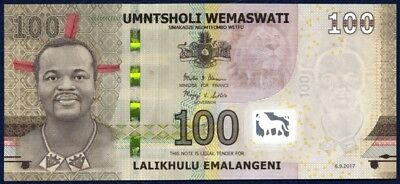 2018 Unc Paper Money: World Professional Sale 三 Interesting Serial Aa 0030303 Swaziland 100 Emalangeni 2017 Other African Paper Money
