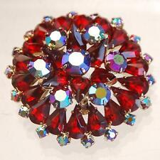 VINTAGE BROOCH_Gold Tone_Prong-Set Red Crystal Rhinestones_Aurora Borealis
