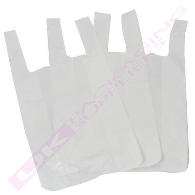 "WHITE PLASTIC VEST STYLE SHOPPING CARRIER BAGS 10x15x18"" *MULTI ITEM LISTING*"