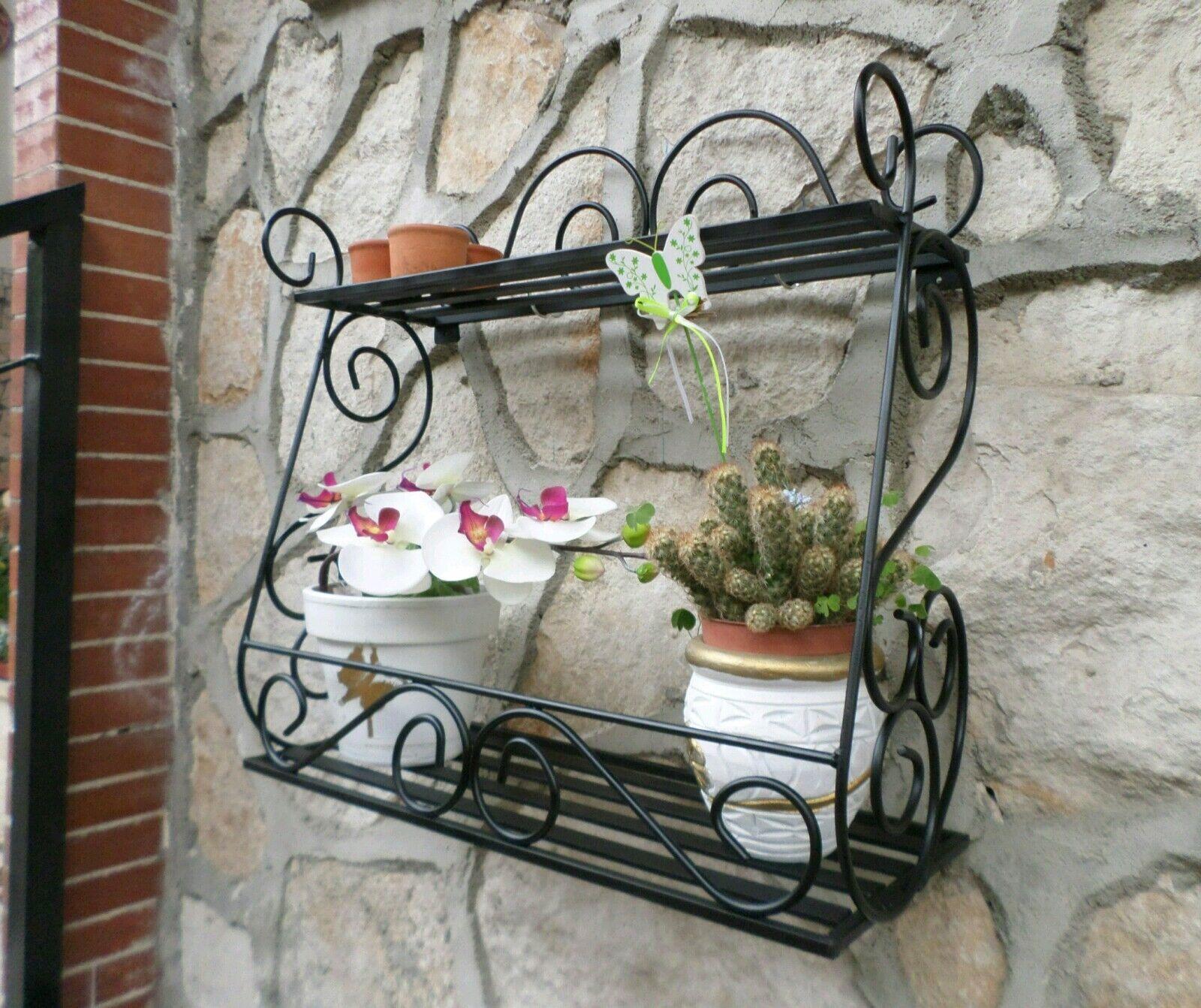 autentico online Mensola in ferro battuto fioriera fioriera fioriera portavaso portaspezie cucina giardino nera  prezzo più economico