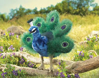 """SMALL PEACOCK HAND PUPPET #2834 ~ 10"""" tall  Free Ship/USA ~ Folkmanis Puppets"""