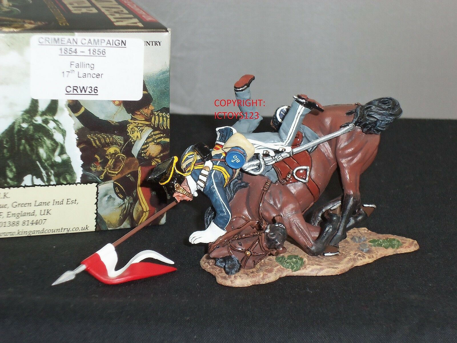KING AND COUNTRY CRW36 BRITISH 17TH LANCER FALLING OFF HORSE METAL TOY SOLDIER