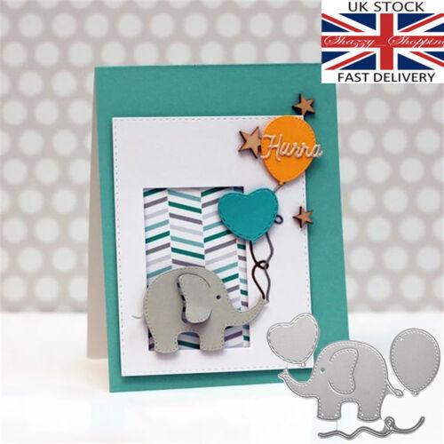 4 piece cute elephant balloons die set metal cutting die cutter UK fast post