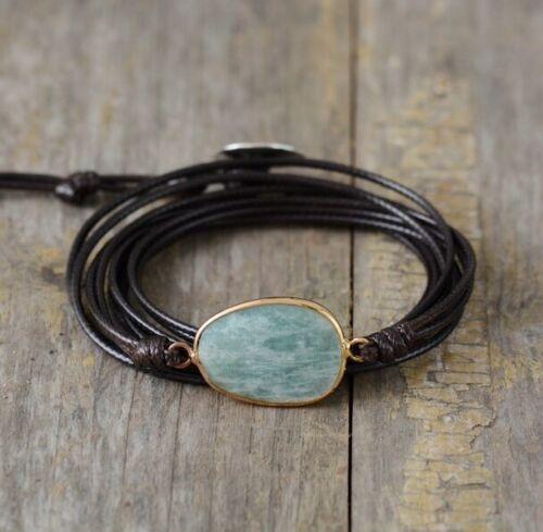 Brown Leather Friendship Bracelet /& Amazonite Stone Wrap Bangle Wristband Rope