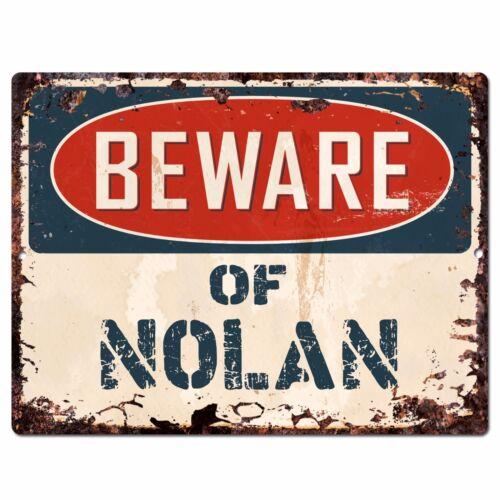 PBFN0597 Beware of NOLAN Plate Rustic Sign Home man cave Decor Funny Gift