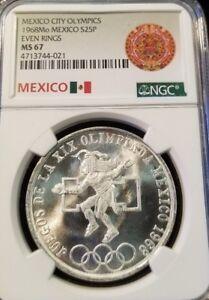 1968-MEXICO-SILVER-25-PESOS-OLYMPICS-EVEN-RINGS-NGC-MS-67-GEM-BU-BLAZING-COIN