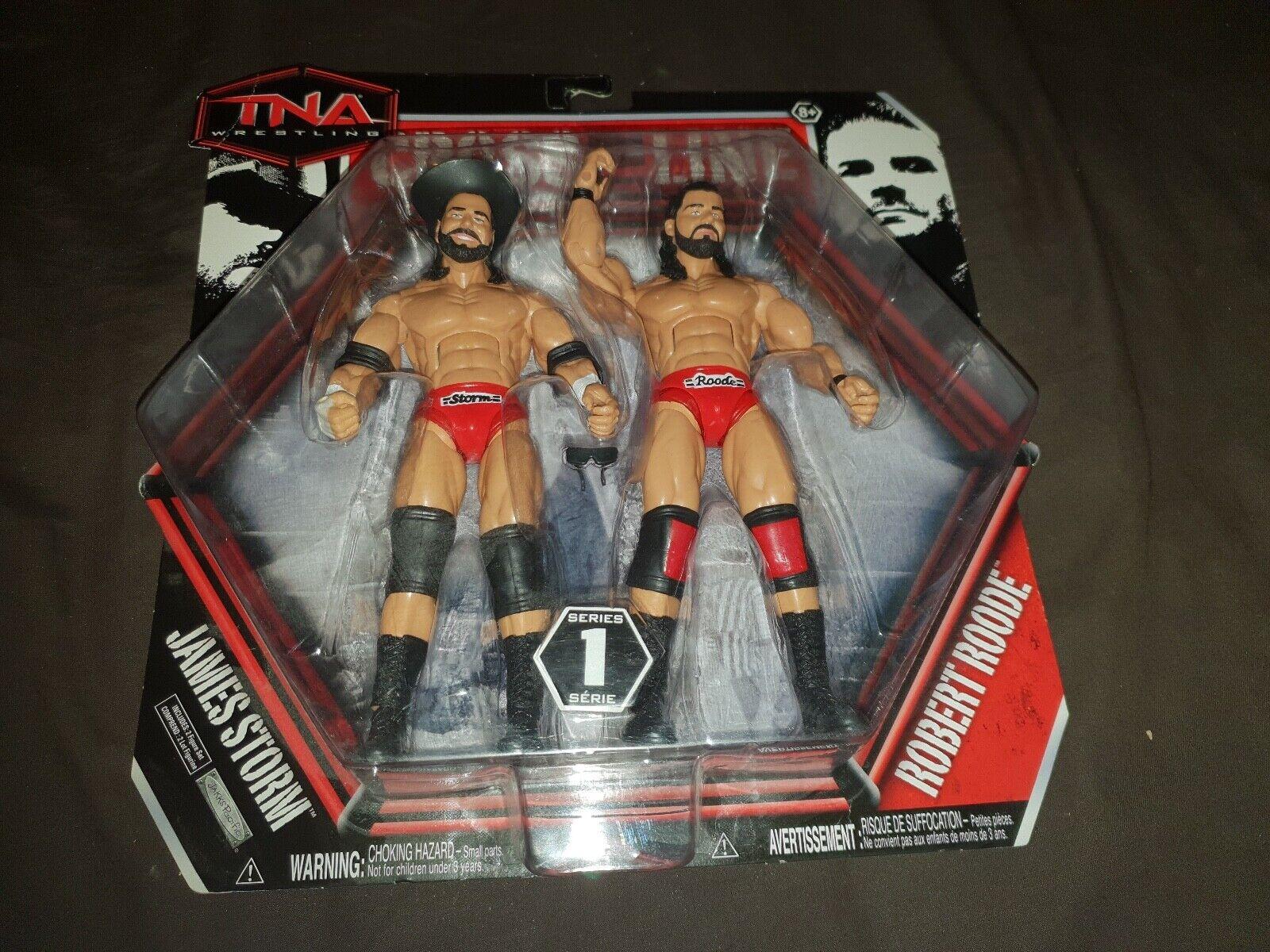 BEER MONEY JAMES STORM & ROBERT ROODE TNA Cross the Line Jakks Figures WWE