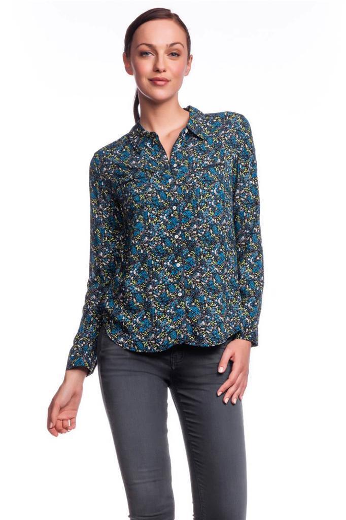C&C California Vintage Floral Print Sleeve Pocket Shirt MYKONOS Blau NEW LS Long