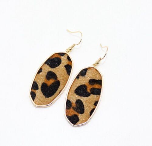 New Gold Tone Imprimé Léopard paille Statement Dangle Boucles d/'oreilles pendantes femme Jeweley