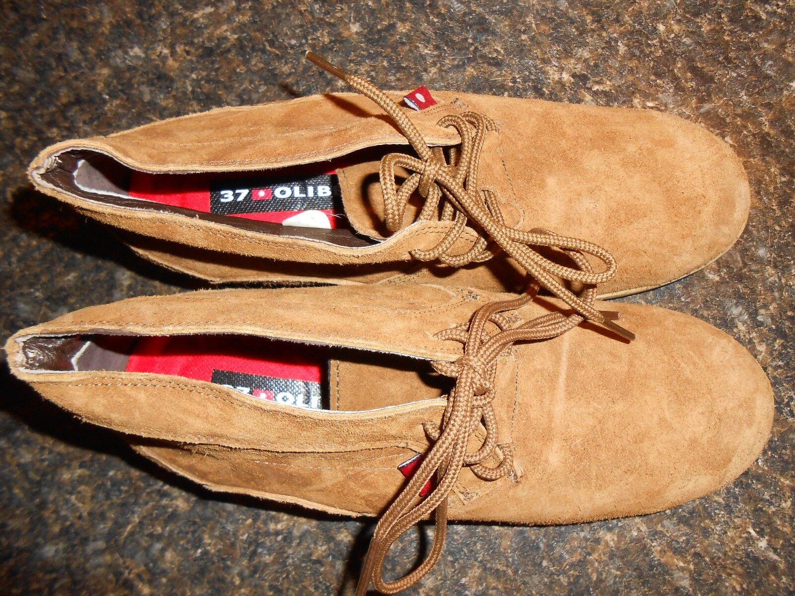 Oliberte mocha suede Malawa leather oxford scarpe wedges display sz 7M New no box
