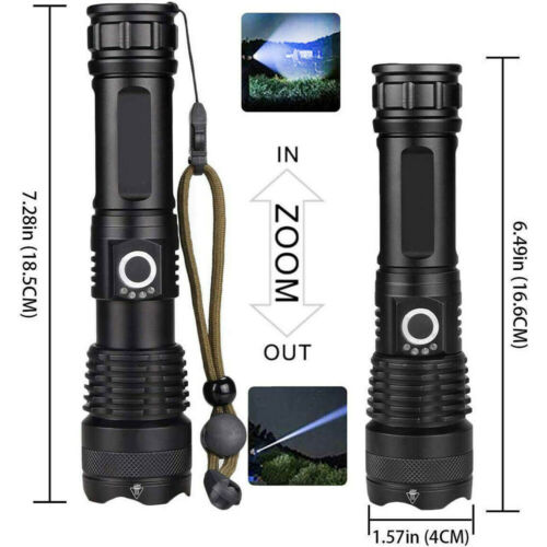 High Power 990000lm LED Flashlight Tactical Zoom Rechargeable Super Bright Torch