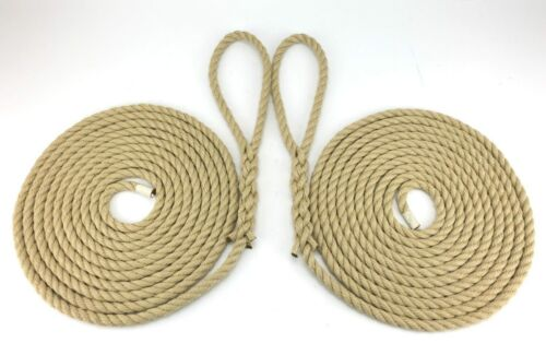 Boat Lines Yacht Sailing 2 x 12 Metres Of 14mm Synthetic Polyhemp Mooring Ropes