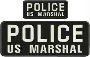 SHERIFF US MARSHAL TFO EMBROIDERY PATCH 4X10 AND 2X5 HOOK ON BACK BLK//WHITE