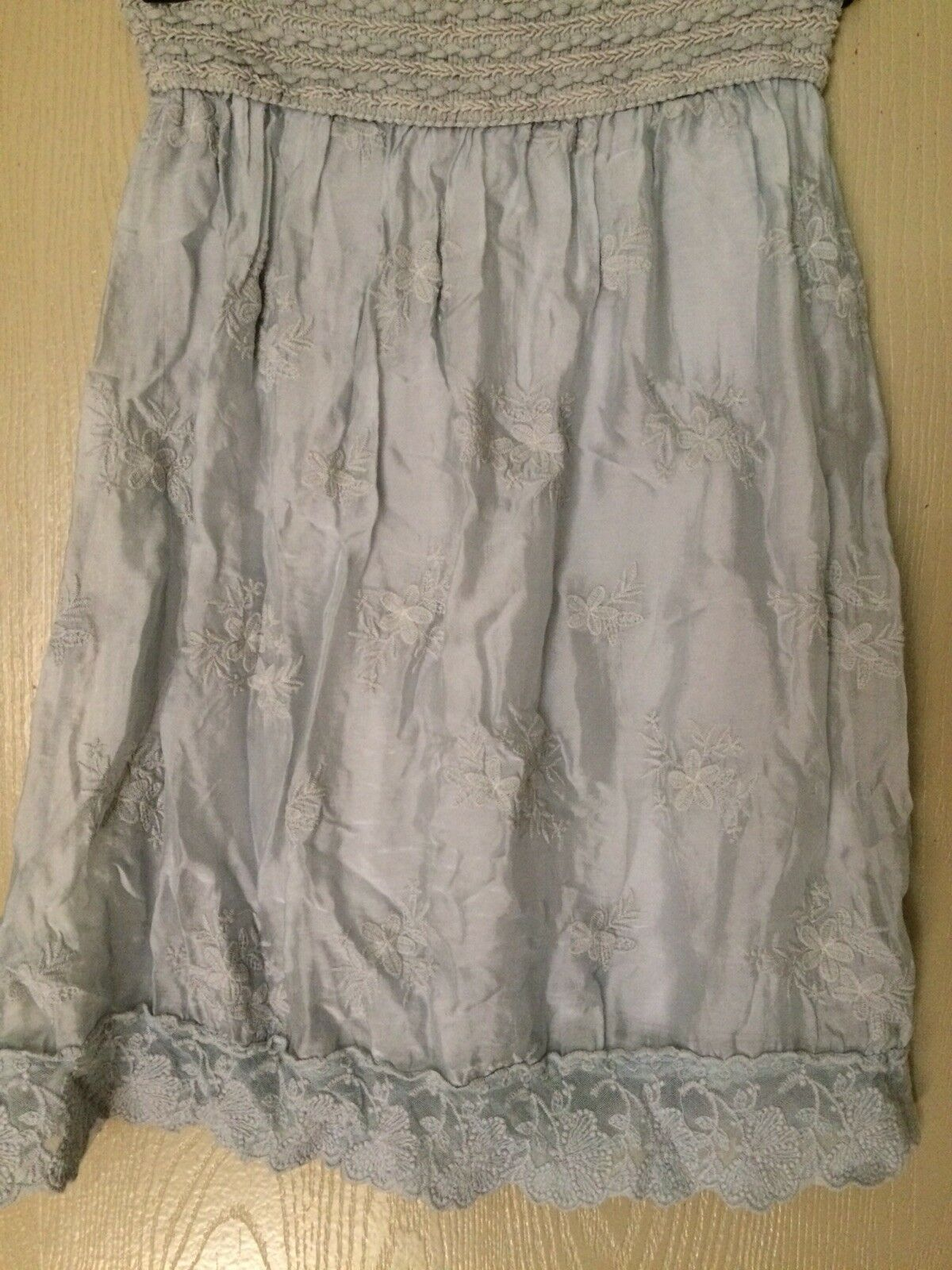New ITALY S silk and cotton embroidered delicate skirt lace elastic  light bluee