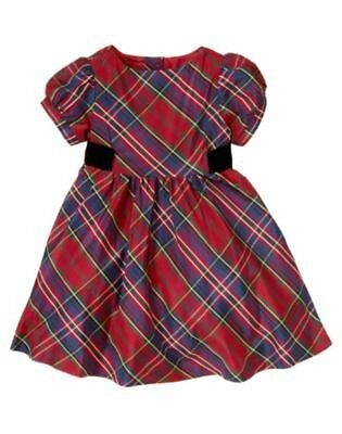 Gymboree $52 Christmas Holiday Celebrations Red Plaid Fancy Silk Blend Dress NWT