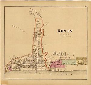 Ripley Ohio Map.1877 Map Atlas Upper Ohio River Land Ownership Ripley Brown County