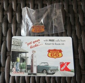 ROUTE-66-PHONE-CALLING-CARD-UNUSED-KMART-amp-RT-66-AMERITECH-CARD-RT-66-PIN