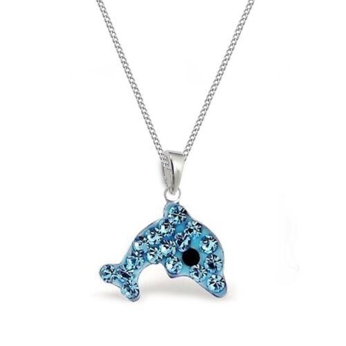 Kinder Kristall Delfin HALSKETTE mit ANHÄNGER 925 Echt Silber Kinder Delphin