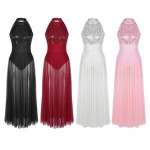 bc1e94b476 Details about Sexy Women Lady Halter Sequin Mesh Maxi Dress Lyrical Leotard  Ballet Dance Dress