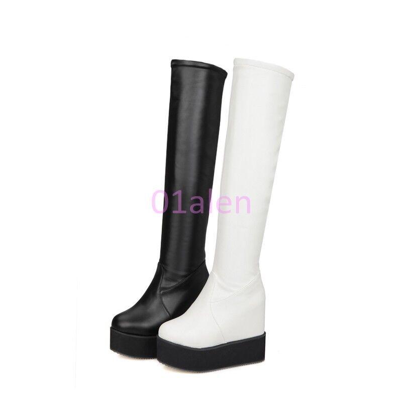 HOT Womens High Platform Hidden WEdge Over Knee High Zip Boot Long Leather shoes