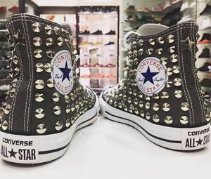Converse All star personalizzate Charcol con borchie grigie Clean no logo STELLA