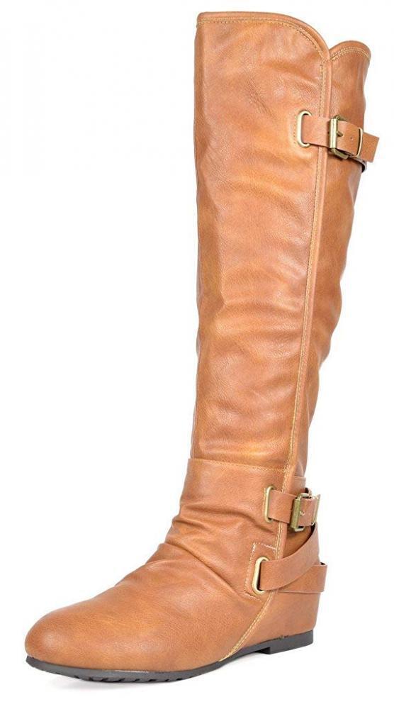 DREAM PAIRS Women's New Akris Camel Pu Hidden Wedge Knee High Boots Size 8...